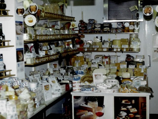 Selection of cheeses in the shop in June 1983