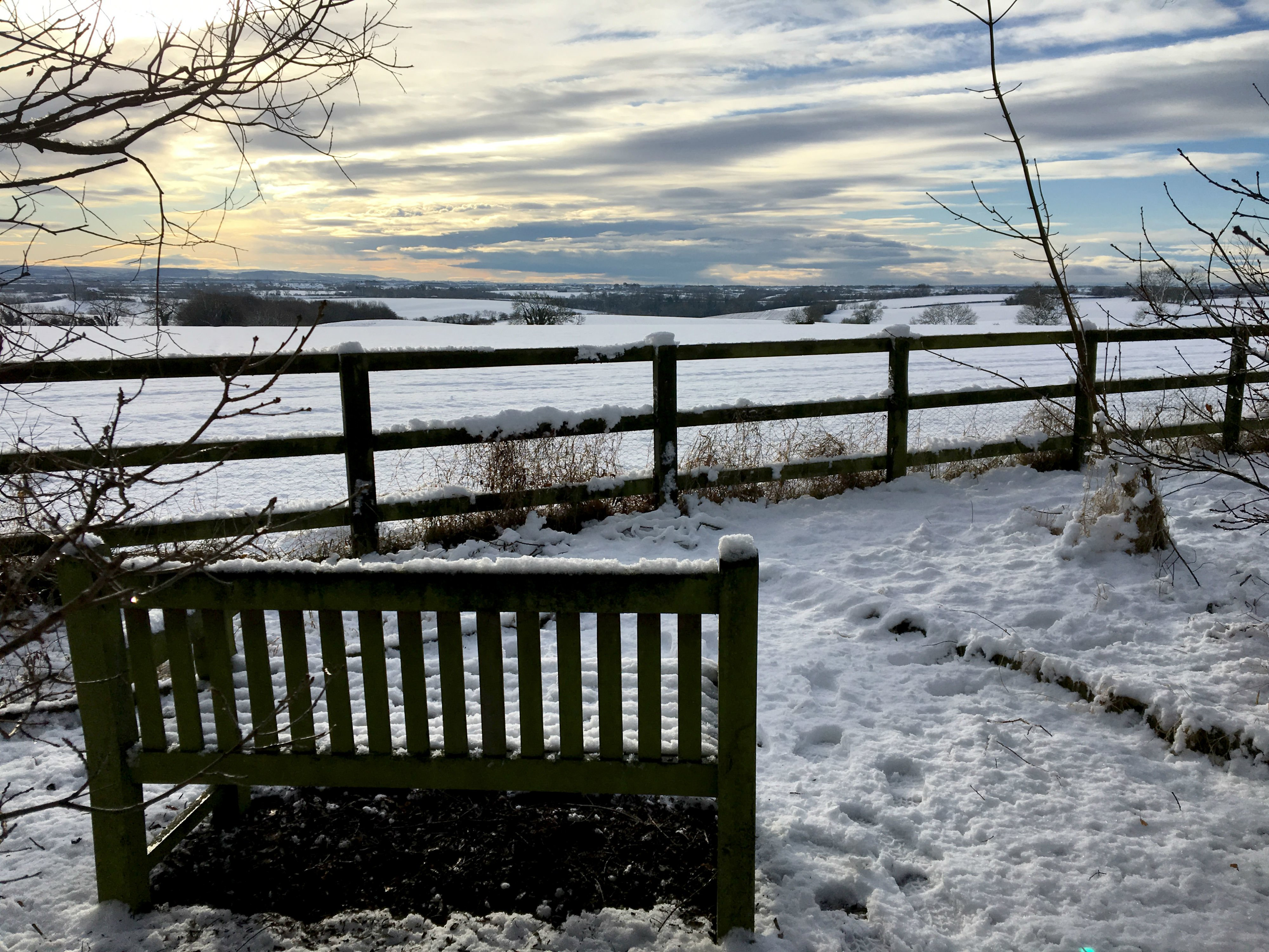 A view from the woodland over the Tees Valley in the snow
