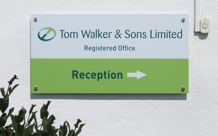 The 'Reception' sign attached to the offices.